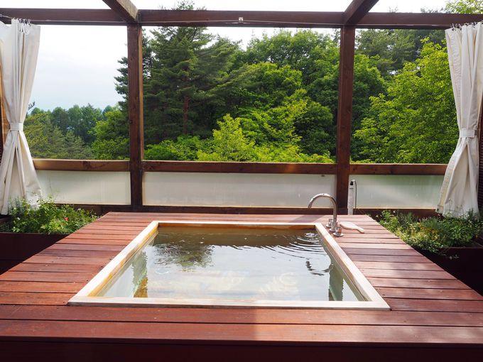 ワインスイートルームには24時間入れる露天風呂も!