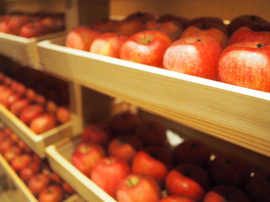 りんご約1800個のショーケースが出現
