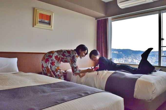 絶景に出会えると評判の「大江戸温泉物語 長崎ホテル清風」の客室