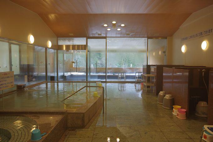 トレッキング後は「あやべ温泉」の露天風呂でリフレッシュ