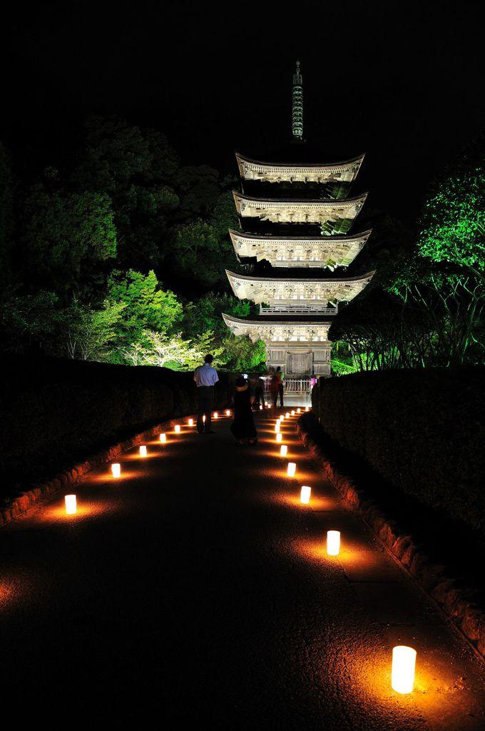 国宝五重塔の散策道をキャンドルで飾る「山口ゆらめき回廊」