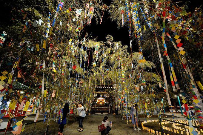 竹笹飾りで彩られる境内