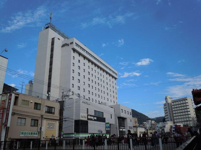 市街地に建つ、観光に最適なホテル