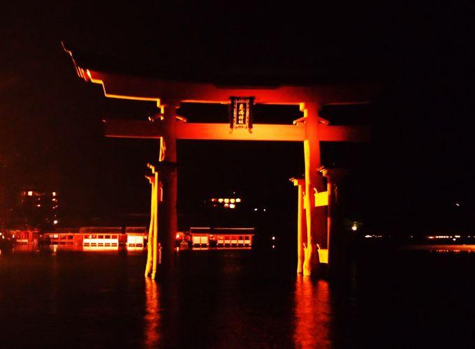 幻想的な、海からの正式参拝は満潮の夜ならでは!