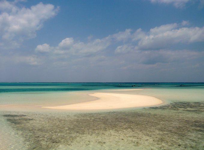 「池間島」を結ぶ橋のたもとの海に、白砂の幻の浜が出現!!