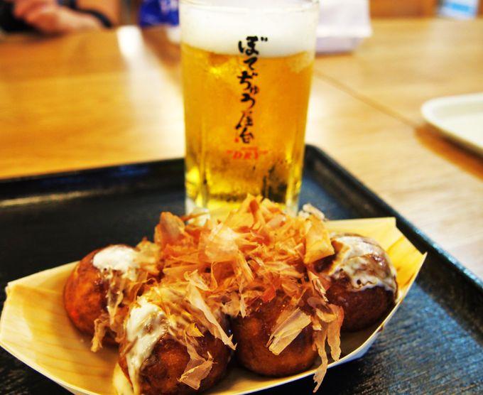 「ぼてぢゅう屋台」は生ビール400円!熱々のたこ焼きや唐揚げも!
