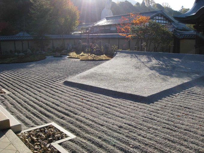 朝日の方丈前庭を眺むる
