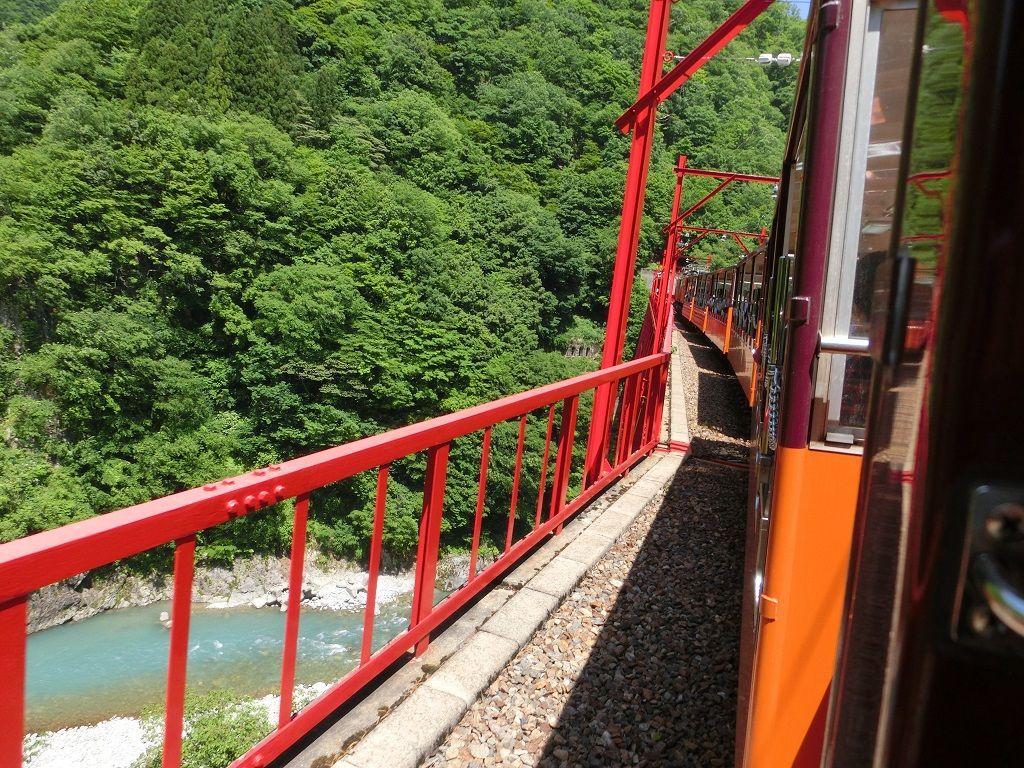 宇奈月駅から片道55分のトロッコ電車