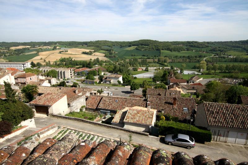 麦畑と森林に囲まれた丘の上に築かれた町