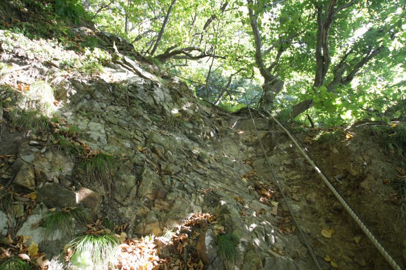 急傾斜の階段から始まる参道
