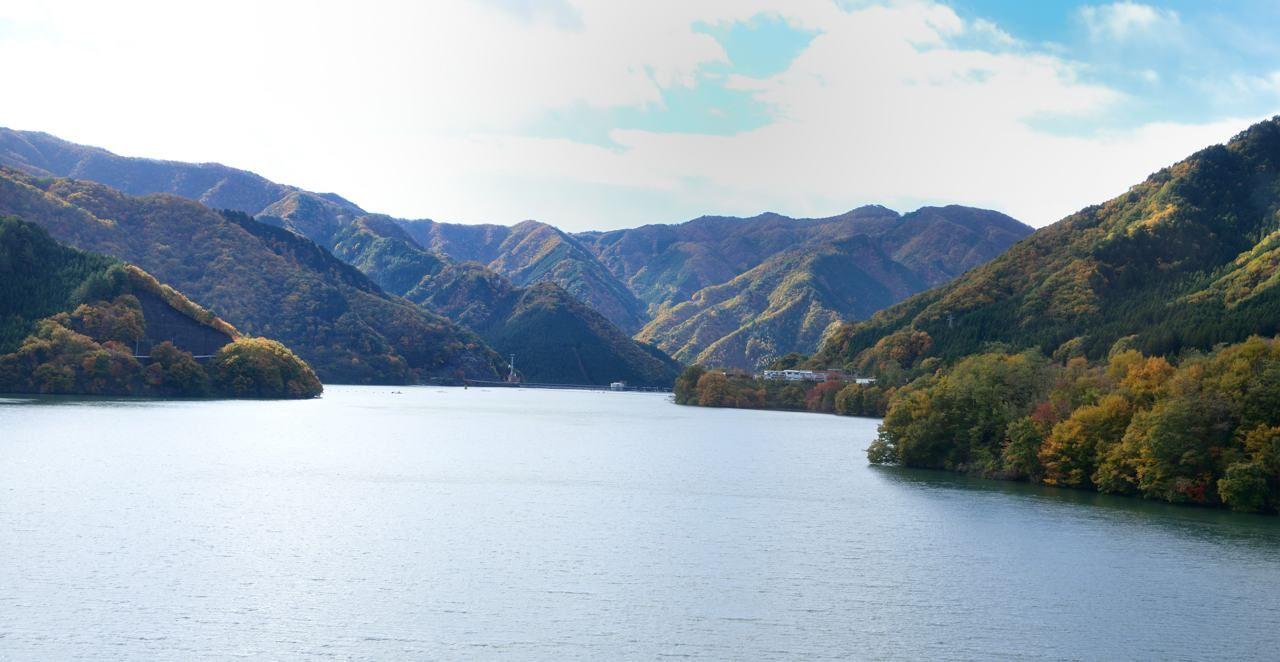 草木湖の橋の上で、朝日に煌めく湖を見よう!