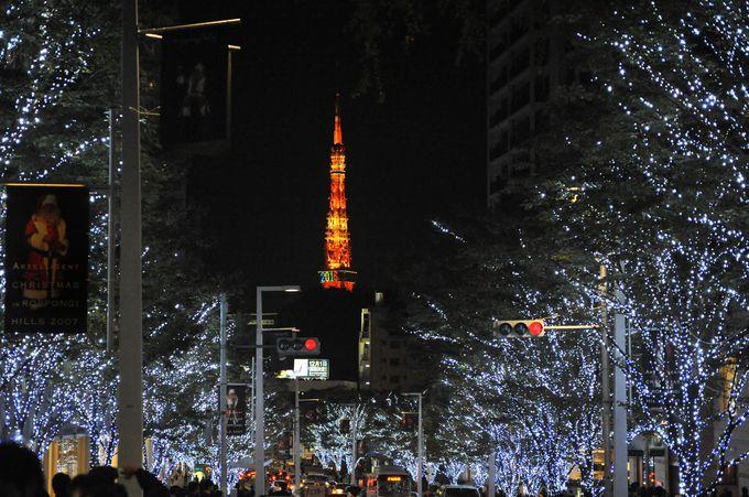 ミッドタウンからけやき坂へ。東京タワーとのコラボレーションが美しいクリスマスイルミネーション。