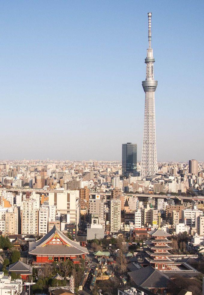 高い塔は見る位置によって見え方が違う。さあ最も綺麗な位置からすらりとした東京スカイツリーを見よう