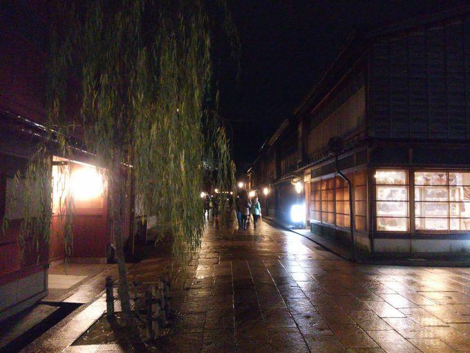 「ひがし茶屋街」のライトアップ