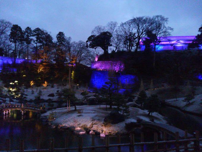 玉泉院丸庭園も歴史を感じるライトアップ
