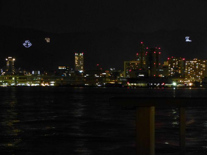 ポーアイしおさい公園からの景色:神戸の山々のライトアップ