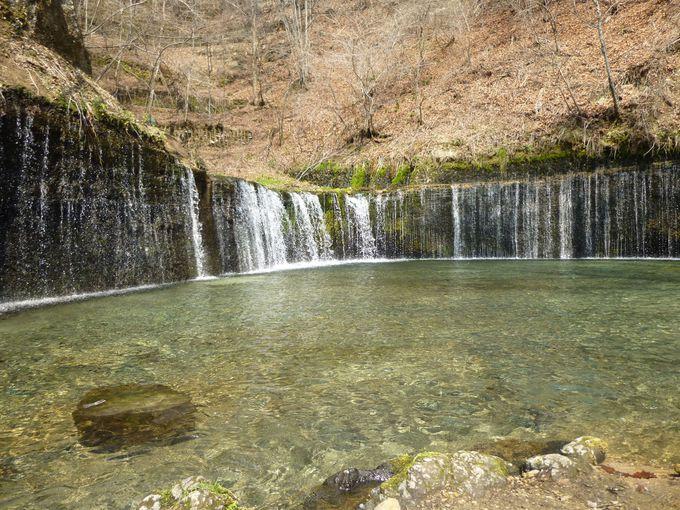 マイナスイオンたっぷりの「白糸の滝」。