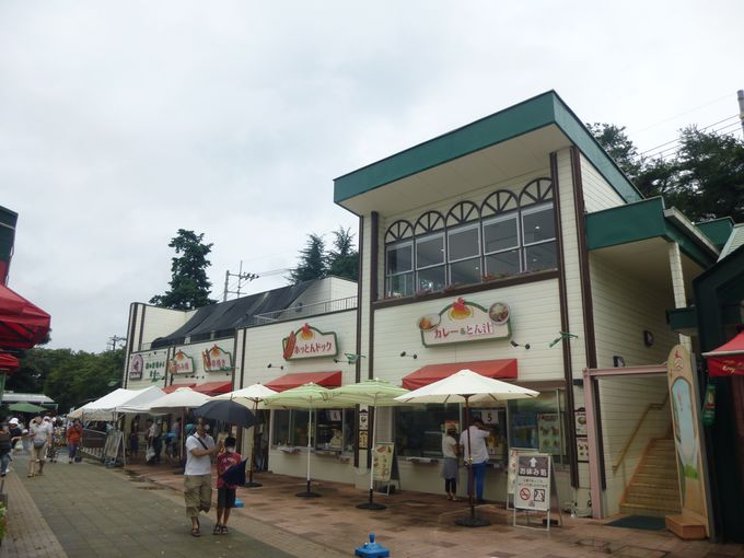 売店やカフェで、ウインナー、ハム、豚バラ串などの食べ歩きも楽しい!
