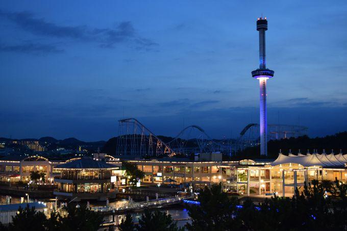 タワーから眺める夜景。開催日には「花火シンフォニア」も!