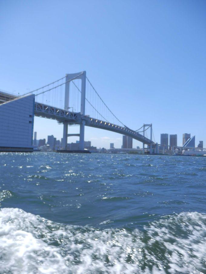 橋を下から眺める幸せ、お台場を海から眺める幸せ、食べても食べてもなくならないもんじゃとお酒。