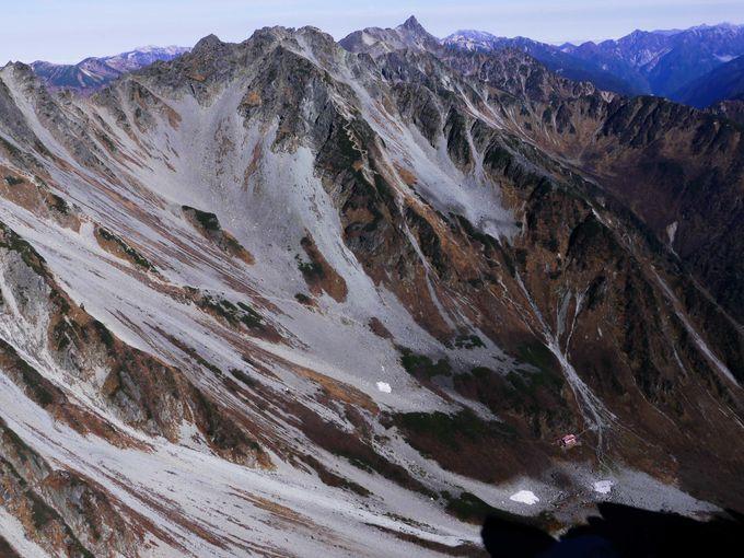 前穂高岳から望む「涸沢カール、ザイテングラード、北穂高岳、大キレット、南岳、槍ヶ岳」