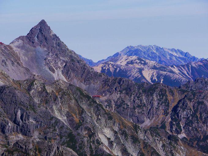前穂高岳から見える「槍ヶ岳、立山連峰(雄山、大汝山、富士ノ折立)」