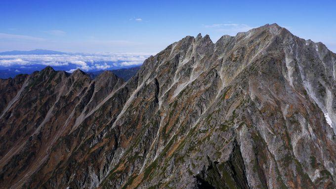 前穂高岳から見る「奥穂高岳、ジャンダルム、天狗ノ頭、西穂高岳」