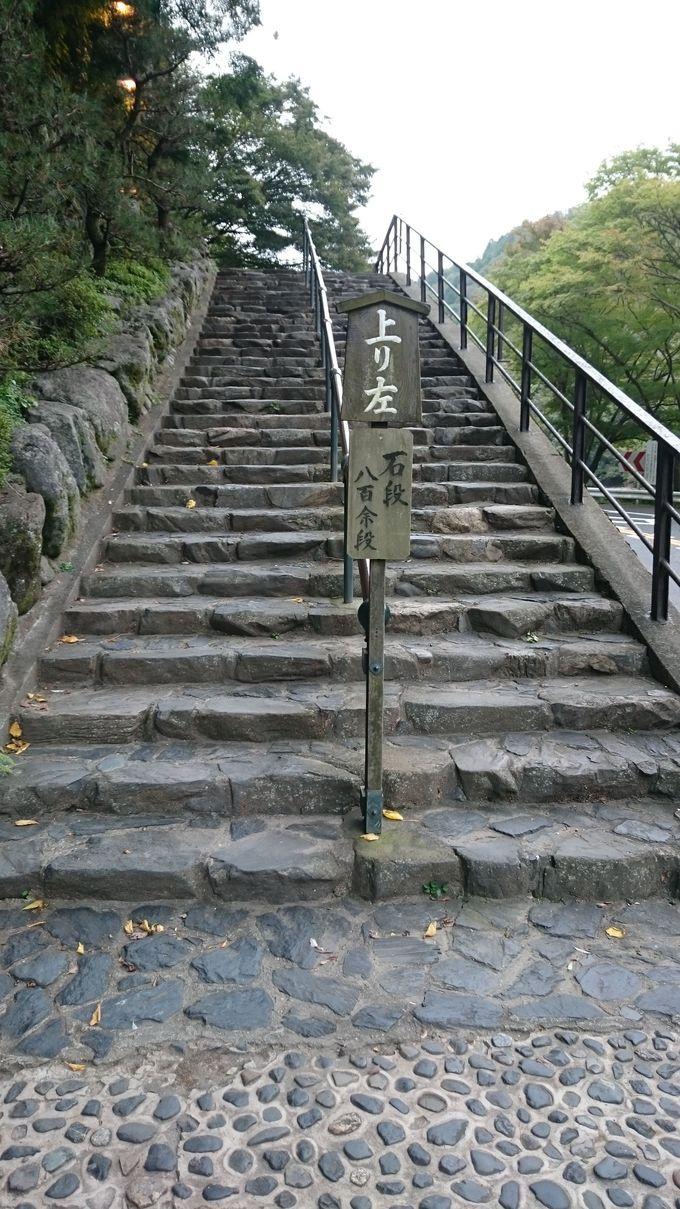 お参り前の一仕事!800余段の階段を上ろう!