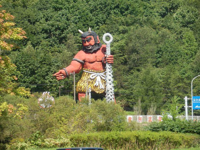 最初に出逢う「赤鬼」は、登別温泉のシンボルです♪