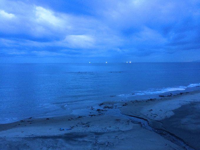 太平洋、津軽海峡の漁火