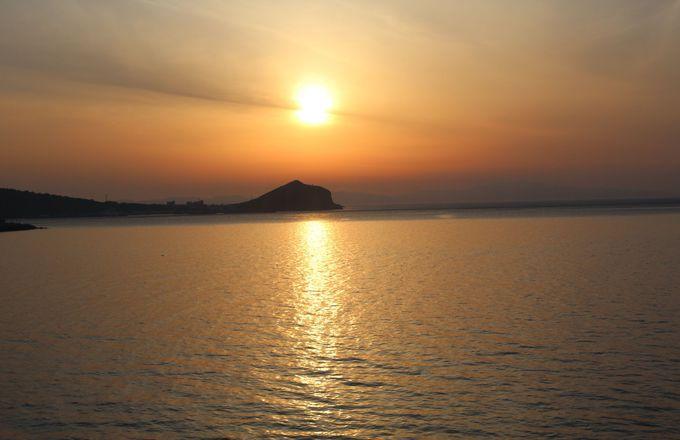 夕日を眺めながらのディナータイム!