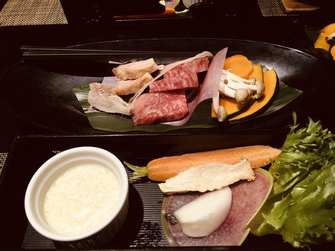 夕食も朝食も会津自慢の食材で調理したお料理を