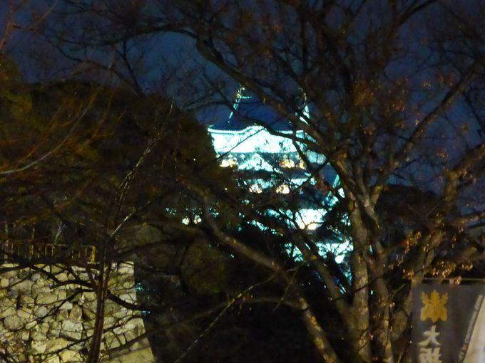 クラッシック音楽に合わせたジュエリーイルミネーションの時にライトアップする大阪城