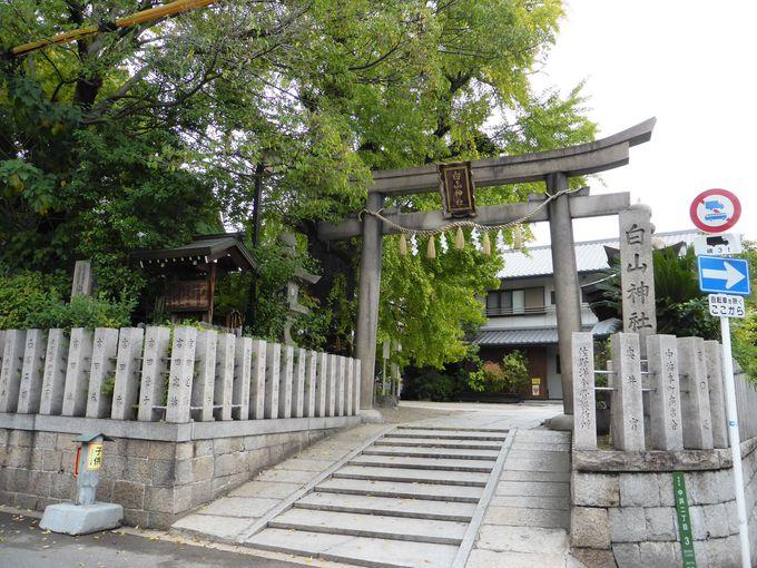 本多出雲守忠朝が陣を置いた「白山神社」
