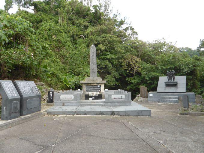 「沖縄師範健児之塔」と「平和の像」