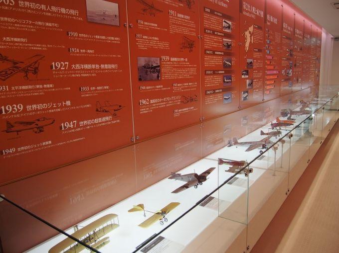 コンコルドなど、世界的に有名な航空機の機体のモデルプレーンを展示