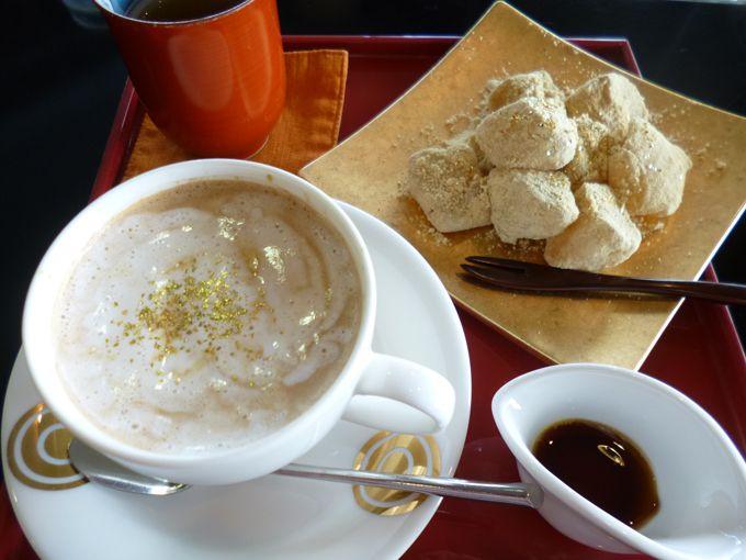 カフェでは、珈琲やスイーツなど、様々な金箔メニューも楽しめる!
