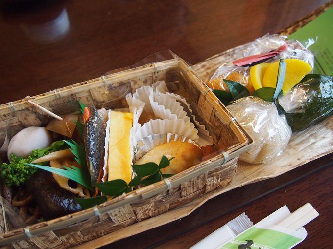 「熊野古道2段竹かご弁当」竹かごは旅の思い出にお持ち帰りも