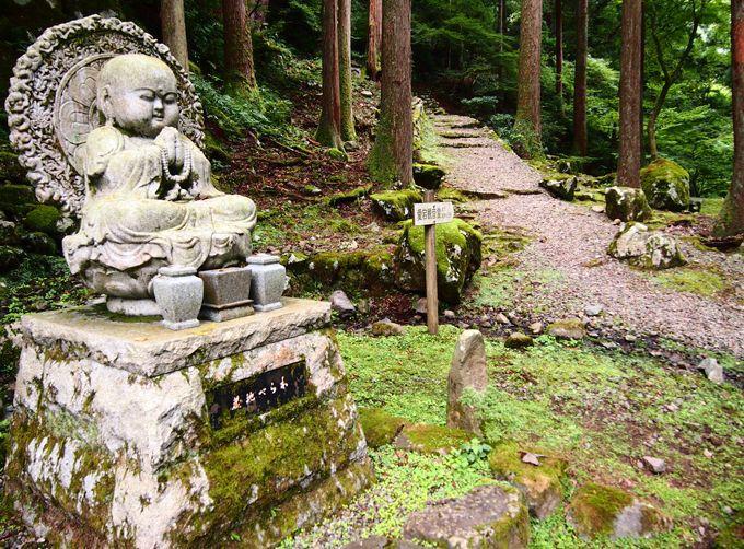 愛宕山の上り口。参道には33体の観世音菩薩の姿が!