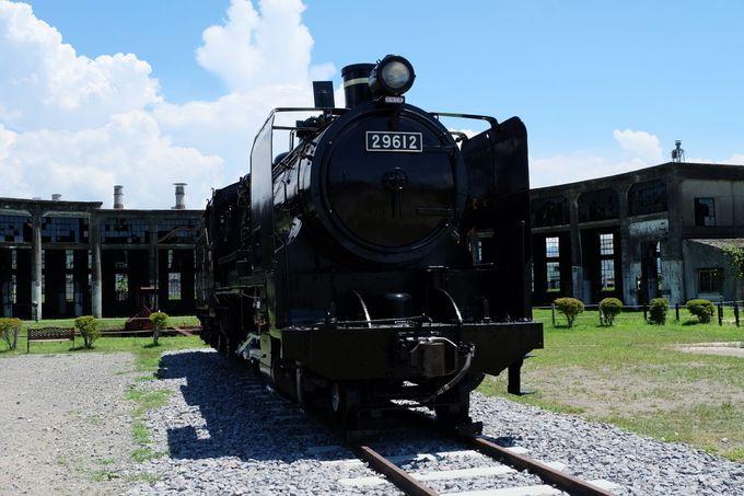 蒸気機関車も展示!毎年10月には機関庫まつりでライトアップも