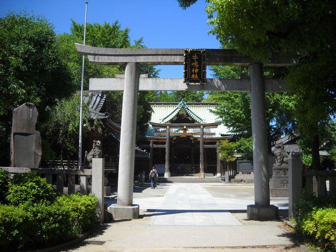 """東都屈指の""""総桧権現造り""""の社殿"""