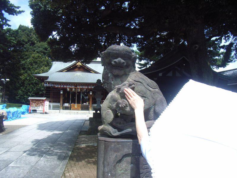 """""""子育て狛犬""""を撫で安産祈願!東京・中野沼袋氷川神社"""