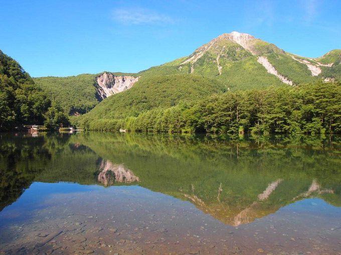 穂高連峰を映す鏡のような大正池