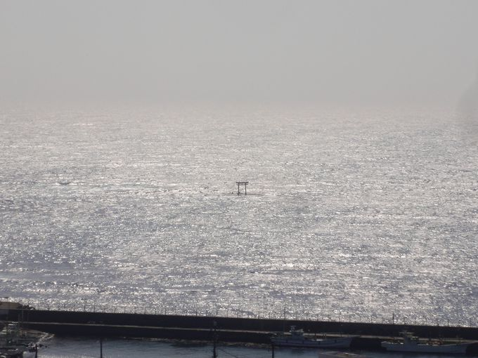 神社の頂上では、キラキラ光る海を一望