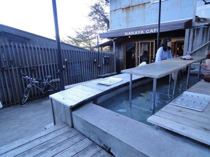 箱根の山々を見ながら足湯カフェ