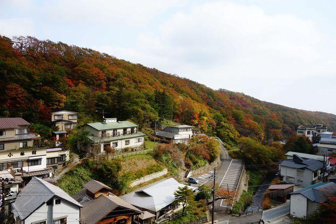 実は絶景な店内♪那須湯本温泉の自然の景観を楽しめます
