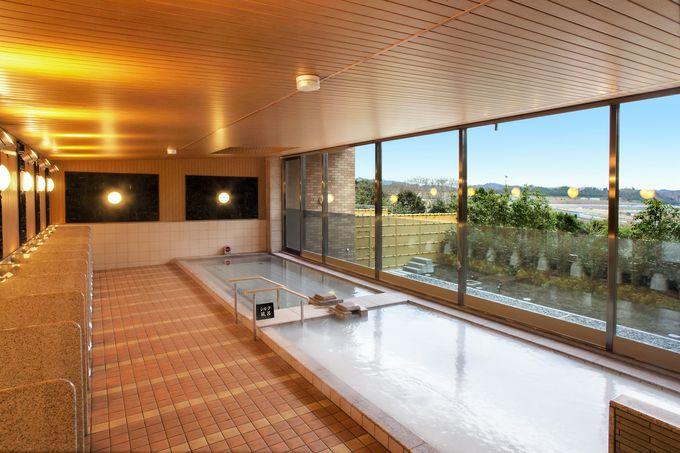 敷地内の大浴場「のぞみの湯」でリラックスタイム