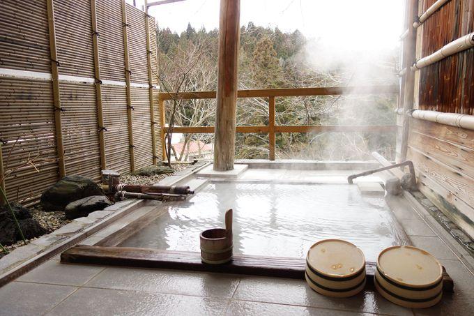 奥塩原の自然と自慢のにごり湯を堪能できる貸切露天風呂(無料)
