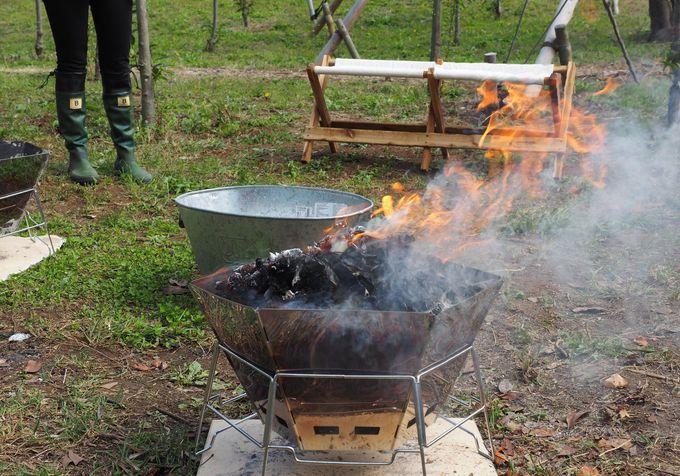 収穫後は焚火で焼いたホクホク甘い焼きいもでほっこり