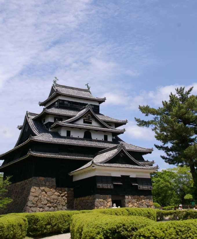 緑と堀に囲まれた松江城